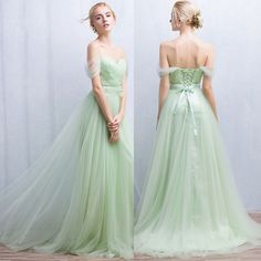 Azbro Women's off Shoulder Backless Evening Ball Gown Bridesmaid Dress ($107) ❤ liked on Polyvore featuring dresses, gowns, off the shoulder evening gown, off shoulder gown, green dress, backless evening dresses and green evening dresses