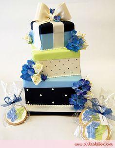 Wedding Shower Stacked Gift Box Cake by Pink Cake Box