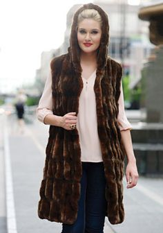 Mahogany Mink Faux Fur Hooded Couture Vest