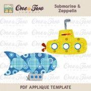 Submarine & Zeppelin Applique Template