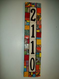 Mosaic House Number Plaque.