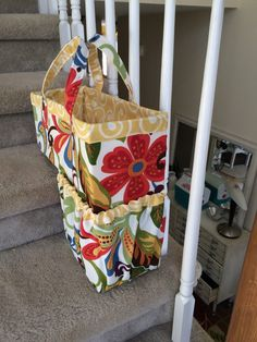 Loving my new Stair Basket Gallery - By cozy nest design on Etsy! Stair Basket, Nest Design, Diaper Bag, Sewing Projects, Stairs, Reusable Tote Bags, Cozy, Gallery, Pattern