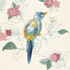 little bird - claire coles Textile Fiber Art, Textile Artists, Dickie Bird, Vintage Theme, Natural Forms, Types Of Art, Bird Art, Vintage Paper, Picture Wall
