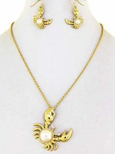 Chunky Pearl Crab Charm Gold Chain Necklace Earring Set Fashion Costume Jewelry   eBay