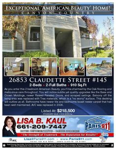 Santa Clarita open house flyer - to be held this Sunday - Top REMAX of Santa Clarita Listing and Selling real estate agents - Lisa B. Kaul hosting - Top Buyers Agent for the Paris911 Team at REMAX of Santa Clarita CA