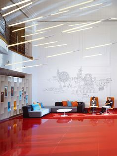 Great Interior Design and giant Illustrations in the new Virgin Atlantic Office by Checkland Kindleysides.