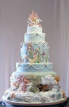 Mermaid cake design by Mercedes Strachwsky / Ariel Crazy Cakes, Fancy Cakes, Cute Cakes, Pretty Cakes, Beautiful Wedding Cakes, Gorgeous Cakes, Amazing Cakes, Cake Wedding, Unique Cakes