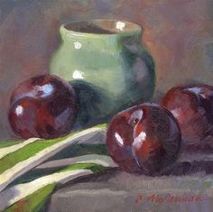 """Daily Paintworks - """"Plums and Stripes"""" - Original Fine Art for Sale - © Connie McLennan Painting Still Life, Still Life Art, Hyper Realistic Paintings, Concept Photography, Art Addiction, Fruit Painting, Drawing Projects, Fine Art Gallery, Painting Inspiration"""