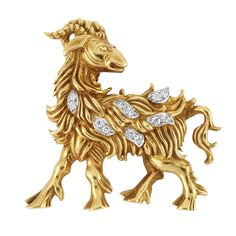 Gold, Platinum and Diamond Ram Brooch, Tiffany & Co.