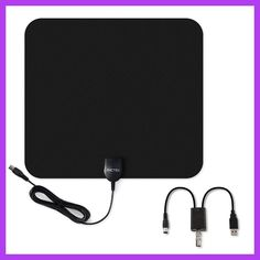 PICTEK 75Ohm Indoor HDTV 50 Miles Range Amplified Antenna With Detachable Signal Booster, 10-Feet Cable EU For Chosing Black
