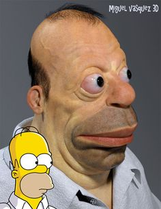 Remember that image of Homer Simpson rendered in real life by digital artist pixeloo? Where here's another one recently completed by artist Miguel Vasquez (previously: his real life SpongeBob and Patrick). Homer Simpson, Favorite Cartoon Character, 3d Character, Character Design, Simpsons Drawings, Realistic Cartoons, Funny Caricatures, Stupid Funny Memes, Hilarious