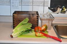 Wooden Compost Bin, Plastic Cutting Board, Countertops, Free, Etsy, Vanity Tops, Countertop, Table Top Covers