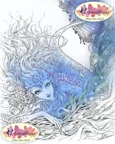 Digital Stamp - Mermaid with Pearls in Kelp - Instant Download - Coloring Page - Fantasy Line Art for Cards & Crafts by Mitzi Sato-Wiuff