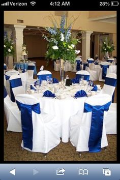 Blue Wedding chairs and centerpieces