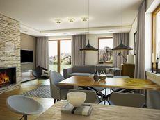 KOLIA - projekt domu z otwartą kuchnią i garażem z jednospadowym dachem. Studio Krajobrazy. Decor, Furniture, Conference Room, Room, Home, Table, Conference Room Table