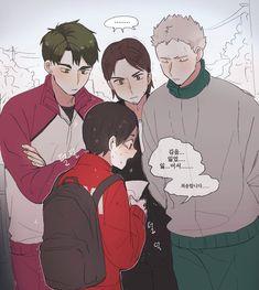 Lil Shibayama trying to talk to the big boys Ushijima, Asahi & Aone.