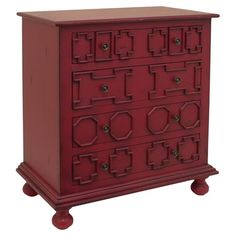Add an artful touch to your living room or master suite with this 4-drawer chest, crafted from wood and showcasing an eye-catching red finish.
