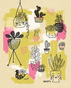 Let's grow - cactus and succulent illustration Neryl Walker