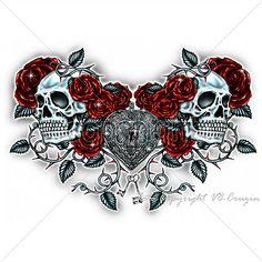 Tattoos For Women Half Sleeve, Chest Tattoos For Women, Chest Piece Tattoos, Sleeve Tattoos, Skull Rose Tattoos, Body Art Tattoos, Chicano Tattoos, Chicano Art, Web Tattoo