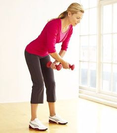 4- Bent-over circular row     With your legs apart shoulder-width, bend forward (ninety degrees) and using each hand at a time, move th...