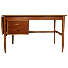 Mid-Century Modern Drop Leaf Desk   From a unique collection of antique and modern desks and writing tables at https://www.1stdibs.com/furniture/tables/desks-writing-tables/