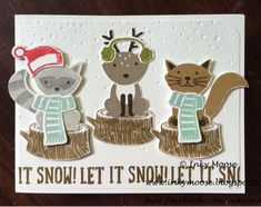 Stampin' Up!'s 'Foxy Friends' and 'Snow Friends' are teamed together for this super cute Christmas card by Inky Moose.