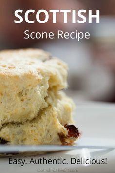 Scottish Scone Recipe, Scottish Recipes, Irish Recipes, Sweet Recipes, Scottish Desserts, Baking Recipes, Dessert Recipes, Scone Recipes, Scone Recipe Easy