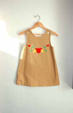70s Vintage ROSES and HEARTS Girls Jumper Dress......size 6 kids.....girls. children. retro. classic. vintage kids. red. tan. birds.. $32.00, via Etsy.