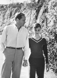 Audrey Hepburn with her husband Mel Ferrer in Beverly Hills, 1958. Scanned from my original press photograph.