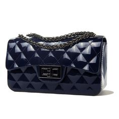 HUKG Fashion Women Candy Colors Diamond pattern design Woman's Handbag wallets Jelly Shoulder Bags Clutch Purse Tote (Navy). The classical design,quality assurance. Super convenient clutch bag and Wristlet purse for cellphone,wallet,purse and small stuffs.It can contains many little stuffs. Product Dimensions: 17cm(L)×9.5cm(H)×7cm(W)(centimeter). Metal Removable-strap Shoulder Strap Drop:24.8in (63cm). Away from fire and high temperature.
