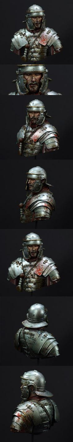 Ave, the bust from Young Miniatures I recently started is done. It shows a roman soldier, shortly after a battle or even in the fire of t...