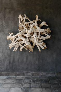 WEATHERED TEAK ROOT FORMS, Blaxsand Wall Sculptures, Sculpture Art, Indonesian Decor, Natural Wood Table, Wood Artwork, Artwork Display, Wall Installation, Wood Creations, Driftwood Art