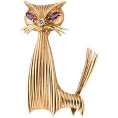 14K Diamond and Amethyst Cat Brooch