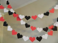Paper Hearts / 10ft Red Black and White Paper Hearts / Wedding Decorations / Bridal Shower Decor / Photo Prop / Heart Garlands / your colors