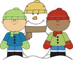 Little Boys with Snowman