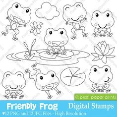 Friendly Frog - Digital stamps Are you looking for cute high quality images to use in your projects? You've come to the right place! You can print the. Digital Stamps, Painted Rocks, Embroidery Patterns, Coloring Pages, Doodles, Paper Crafts, Clip Art, Drawings, Projects