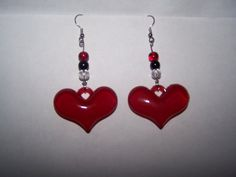 Red Heart and Glass Bead Earrings by SweetJDesigns on Etsy, $8.00