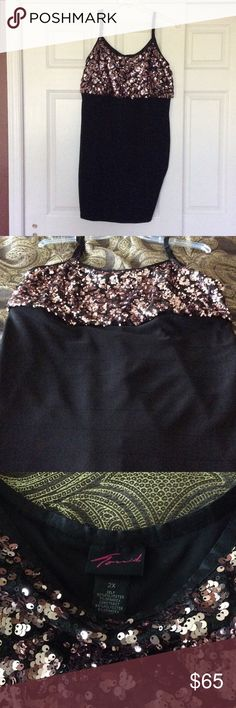 Torrid party dress Size 2x. Great sequines.  Form fitting from waist down. Adjustable shoulder straps. Great for parties or proms. Worn 3 times and cleaned each time. torrid Dresses Prom