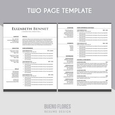 introducing elizabeth bennet a classic elegant feminine multipurpose design which includes a two - Two Page Resume