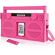 iHome Portable FM Stereo Boombox for iPhone® and iPod® from Brookstone. Saved to Gadgets. Boombox, Gadgets And Gizmos, Tech Gadgets, 2017 Gadgets, Iphone Gadgets, Iphone 5, Iphone Cases, Pink Iphone, Objet Wtf
