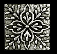 Compliments Accessories - Donatella Tile - Old world Mediterranean floral design tile in a Pewter finish