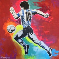 Maradona Tattoo, Sports Painting, Diego Armando, Original Paintings, Original Art, Arte Pop, Sports Art, Canvas Art, Canvas Size