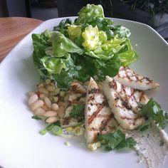 #tgwh grilled calamari steak succotash & butter lettuce salad