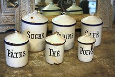 Set of 6 enamel canisters