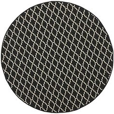 Safavieh Courtyard Collection CY6919226 Black and Beige Indoor Outdoor Round Area Rug 53 Diameter ** To view further for this item, visit the image link.