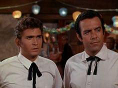 "Michael Landon and Pernell Roberts (Joe and Adam Cartwright on ""Bonanza"")"