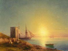 Ivan Aivazovsky -  Sunset Over The Italian Coast