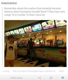 Pretty sure it comes with double cheese sauce.  Lol! Do Kyungsoo of exo, the nachos endorser.
