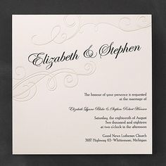 Exquisite Poetry Wedding Invitation 40% Off | http://mediaplus.carlsoncraft.com/Wedding/Wedding-Invitations/3150-FV13445-Exquisite-Poetry--Invitation.pro | Carlson Craft Wedding Invitations FV13445 Swirls and pearl and your names center stage - so romantic, it's poetic! The unique typography format and square shape make this wedding invitation memorable.