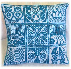 """""""Winter Pillow"""" by Jorid Linvik.  The pillow is knitted in the round and steeked.  Fingering weight yarn and stranded knitting."""